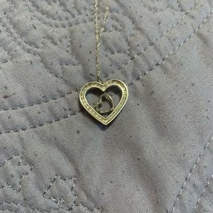 10k gold and diamond heart necklace